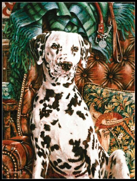 Spotted dog DIY Counted Cross Stitch Pattern Needlework DMC Color 14 ct Aida $9.99