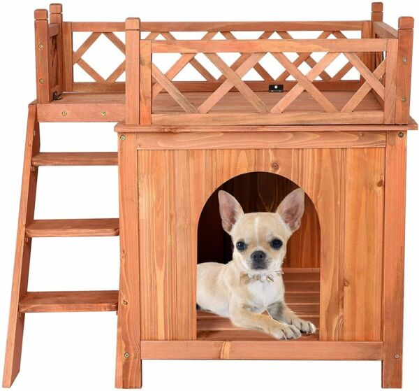Livebest Wooden Pet Dog House 2 Tier Dog Room Shelter w Stairs and Balcony Home $59.99
