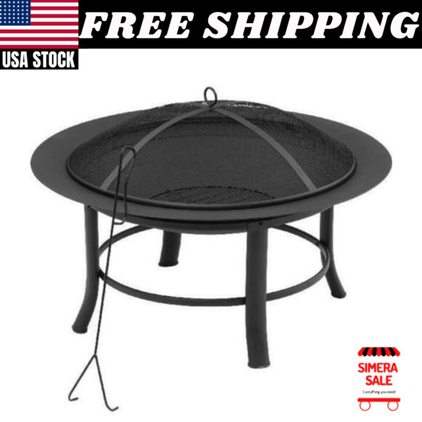 Mainstays 28quot; Fire Pit with PVC Cover and Spark Guard Mesh Lid with Lid Lift New