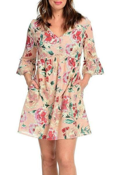 NEW Band of Gypsies Printed Woven V Neck Elbow Sleeve 2 Pocket Tie Waist Dress