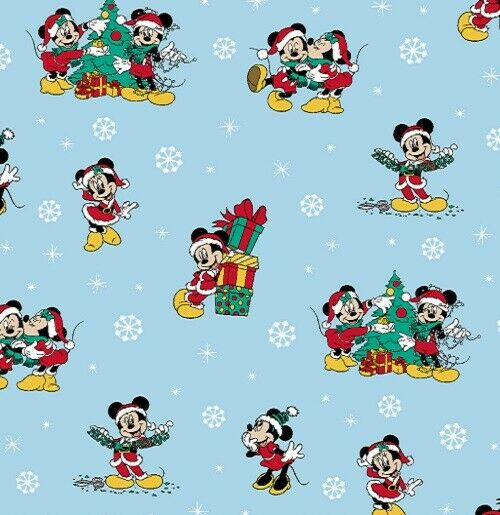 REMNANT: Mickey and Minnie Christmas by Springs Creative Cotton Fabric BTY