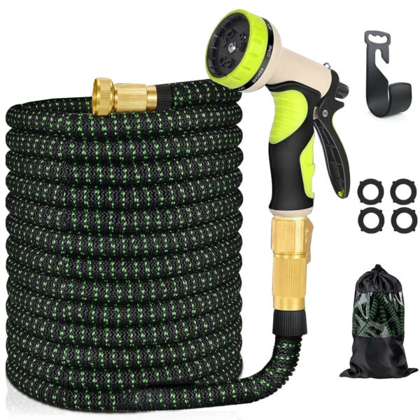 100 Ft Expandable Garden Water Hose 9 Pattern Spay Nozzle 3 4quot; Brass Fitting