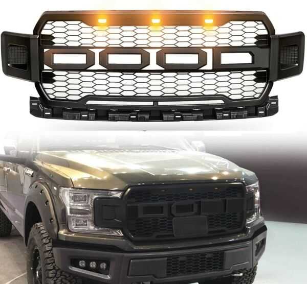 For 18 20 Ford F150 Raptor Style Conversion Front Hood Grille W LED Grill BLACK