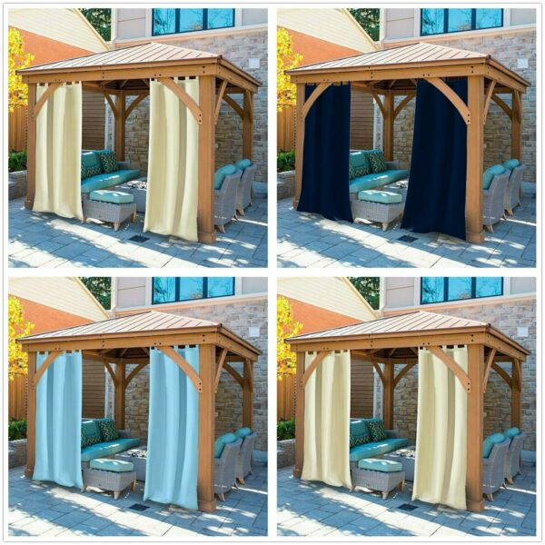 Outdoor Curtains Panel Tab Top Window Curtain for Pergola Patio Waterproof New $26.77