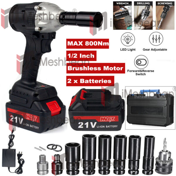 16800mAh 1 2#x27;#x27; Electric Brushless Cordless Impact Wrench Drill W Battery6Socket