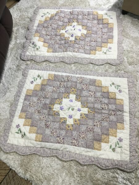 Country Quilted Lavender And Ivory 20X26 Pillow Shams Set Of 2 $22.70