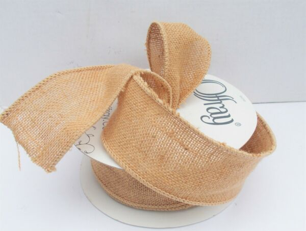 Wired Burlap Ribbon Natural Tan Colored 2 1 2quot; Wide 5 Yards.