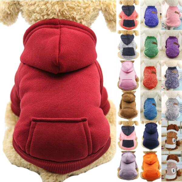 Pet Costumes Puppy Hoodie Sweater Jumper Hooded Coat Dogs Clothes Warm Jacket $5.98