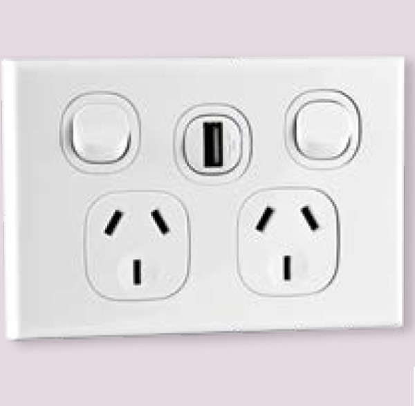 Vynco Wall Horizontal Double PowerPoints Dual Switch with USB Charger 10A AU $14.95