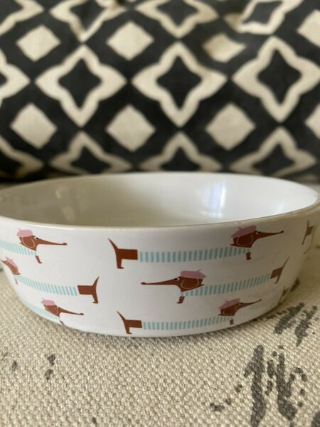 New DACHSHUND Sausage Dog Small Round DOG BOWL Pink Blue Food Water Doxie Red $14.99
