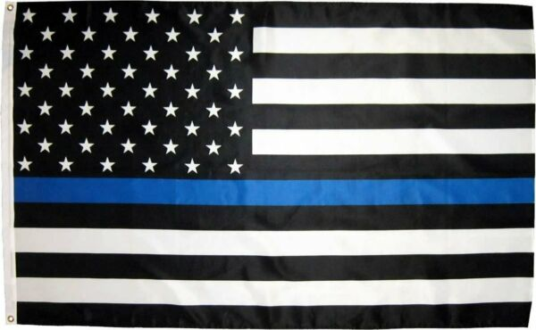 3X5FT THIN BLUE LINE BLACK AND WHITE AMERICAN FLAG POLICE LAW ENFORCEMENT DEFEND $6.95
