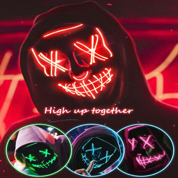 Halloween Light Up LED Mask Clubbing Costume Rave Cosplay Party Purge 3 Modes $7.99