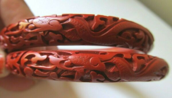 Matching Pair Vintage Carved Red CINNABAR Dragon BANGLE BRACELETS Estate