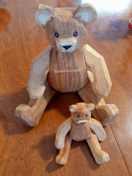 Vintage Wooden Bear set Large And Small
