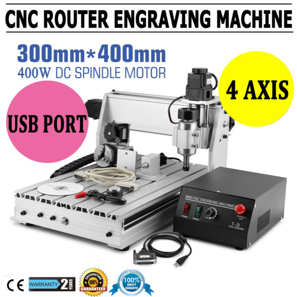 New USB CNC ROUTER ENGRAVER ENGRAVING CUTTER 4 AXIS 3040 T SCREW DESKTOP CUTTING $524.90