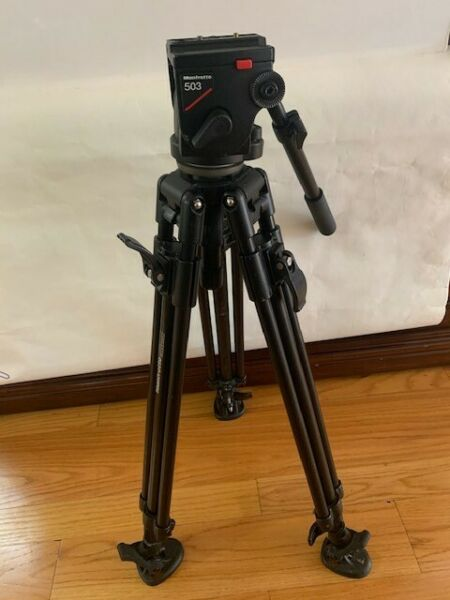 Camera Tripod Manfrotto 503 Italian Micro Fluid Head Extends 63quot; FREE SHIPPING