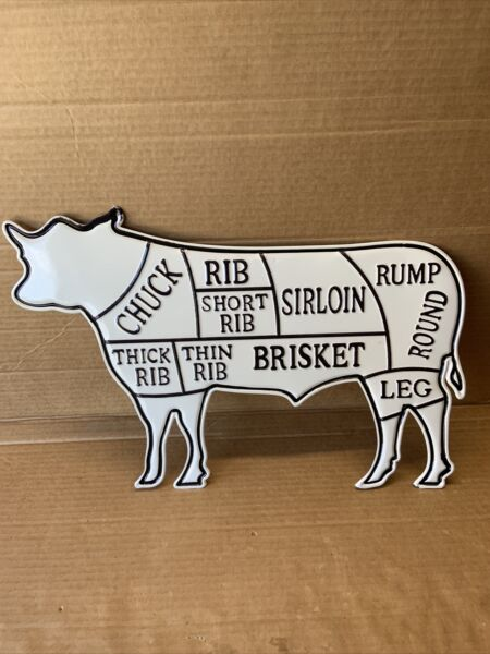 Metal COW Sign White Black Cuts of Meat Butcher Chart Beef Diagram Farmhouse $14.99