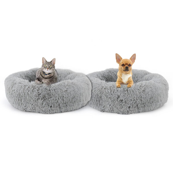 Plush Round Pet Bed for Small Dogs Cats Faux Dog Beds Washable Cat Calming Bed $17.90