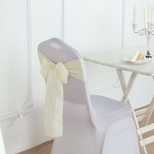 5 IVORY CHAIR SASHES Premium Polyester Faux Burlap Wedding Decorations