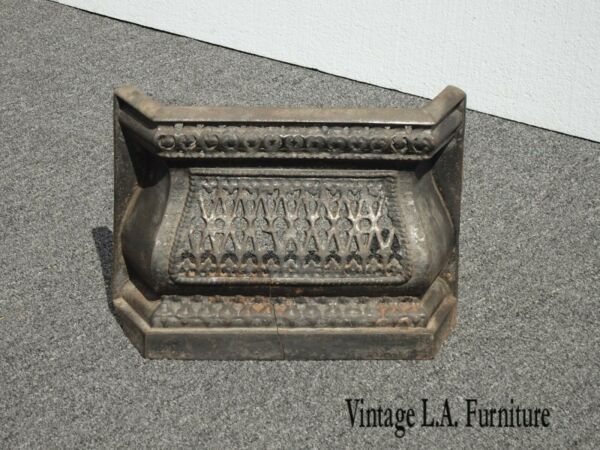 Antique French Country Cast Iron Black Fireplace Grill Grate As Is