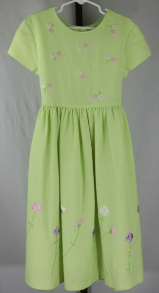 Green Dog Girls Green Floral Embroidered Short Sleeve Dress Size 7 $22.99