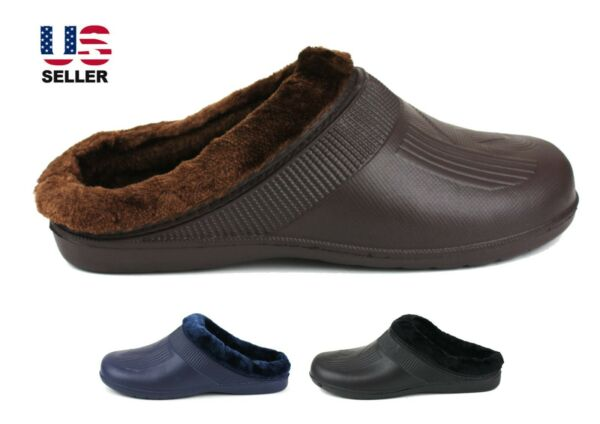 Mens Slippers Shoes Clogs Fleece Lined Warm Winter Rubber House Outdoor Non Slip $11.99