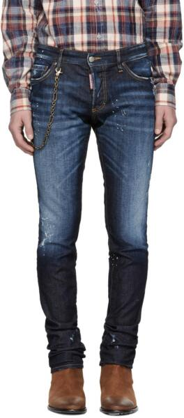 DSQUARED² Men Slim Fit Distressed Blue Jeans with Chain Link NEW NWT $750 $395.00