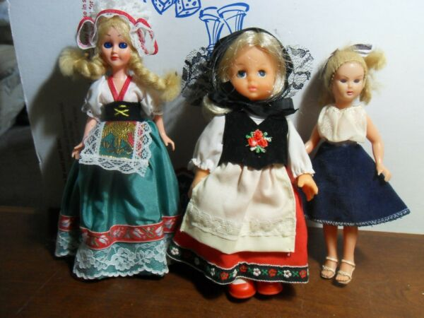 Lot of 3 Small Dolls Vintage