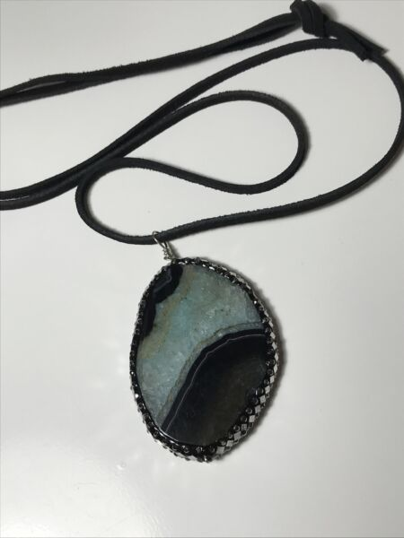 NEW Green Black Slice Agate Necklace On Leather Cord With Crystal Cz Boho