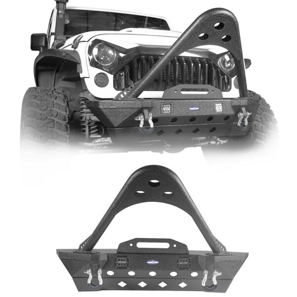 Black Steel Front Bumper Stinger Bar Style Fit for Jeep wrangler JK 2007 2018