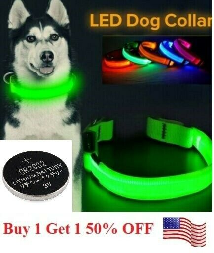 LED Adjustable Dog Collar Blinking Night Flashing Light Up Glow Pets Safety USA $5.95