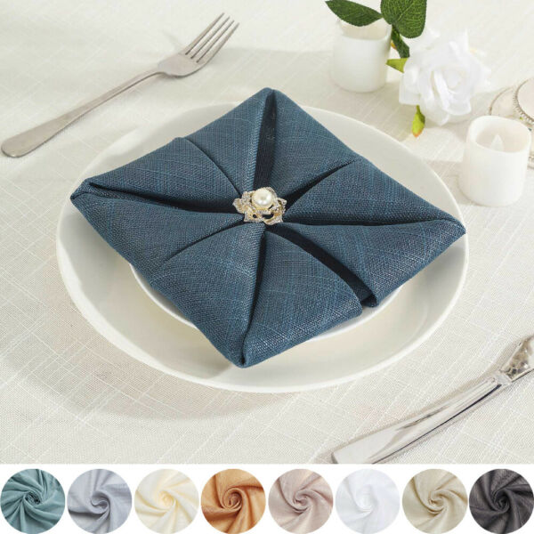 5 pcs 20quot; FAUX BURLAP NAPKINS Premium Polyester Wedding Party Table Decorations
