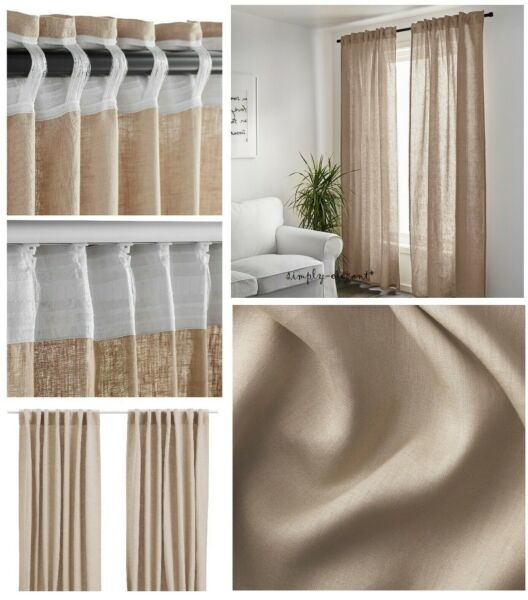 IKEA AINA Pair of CURTAINS Ikea LINEN Panels AINA Window Drapes Beige NEW NIP