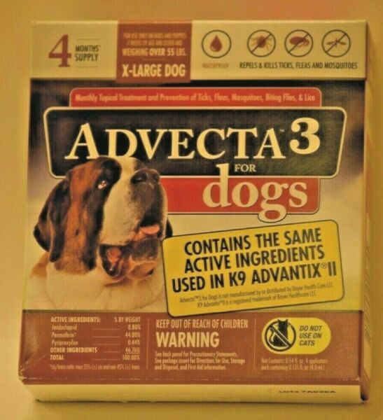 Advecta 3 for Extra Large Dogs over 55 lbs. 4 Month Supply New $19.75