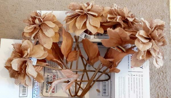 Artificial Flowers Burlap Brown 5pcs Lot *****NEW CLEARANCE**