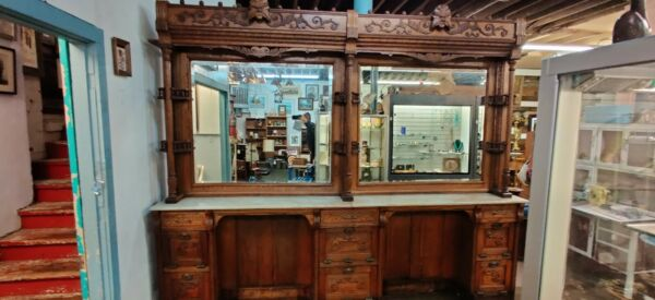 Oak back bar barbershop north wind general store cabinet from New York