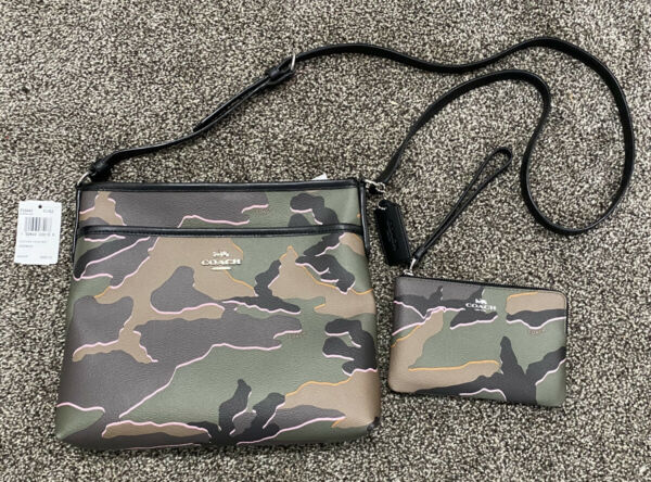 Coach Camo Camouflage Designer Purse Crossbody Bag amp; Wristlet New With Tags $230.00