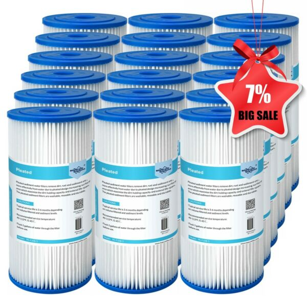 18 Pack 10quot; x 4.5quot; for Big Blue RO Sediment Pleated Water Filter 5 20 50 Micron $42.31