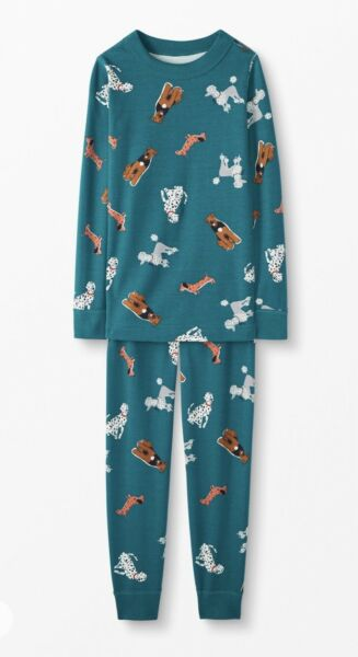 NWT Hanna Andersson Organic Long John Pajamas 140cm US 10 TOP DOGS $40.00