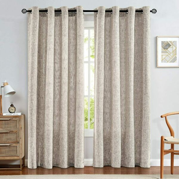 jinchan Ivory Linen Curtains for Bedroom Drapes for Living Room Burlap Textured