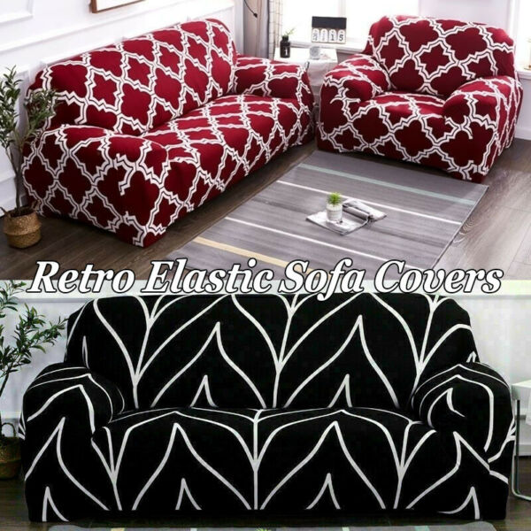 Universal Fitted Sofa Slipcover Furniture Cover Protector Pattern Couch Covers $24.50