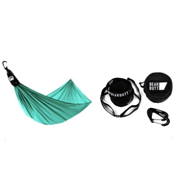 Beat Butt Ultralight Hammock Bundle Sea Green With Straps And Carabiners New $47.99