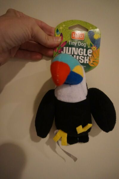 NWT HARTZ TINY DOG DOG TOY PLUSH WITH SQUEAKER JUNGLE PARROT $5.99