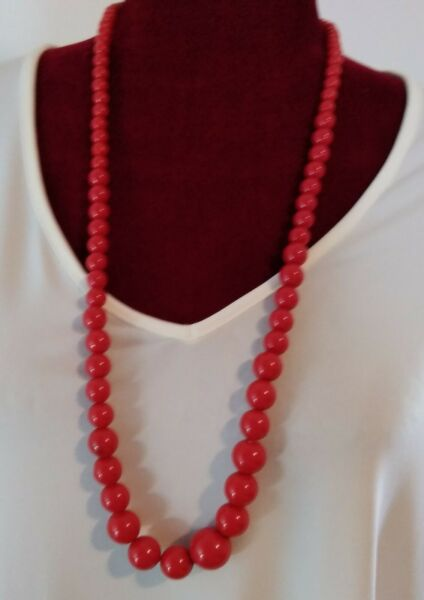 Vintage 32quot; Carnelian Red Graduated Beads Necklace Very Nice