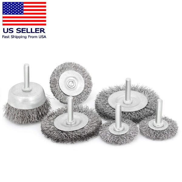 6 Wire Wheel Cup Brush Set Coarse Crimped Carbon Steel Shank Drill Attachments $9.69