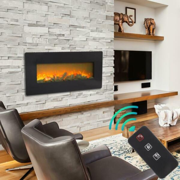 Zokop 42quot; Electric Fireplace Heater Recessed and Wall Mounted w Remote Logs 2020