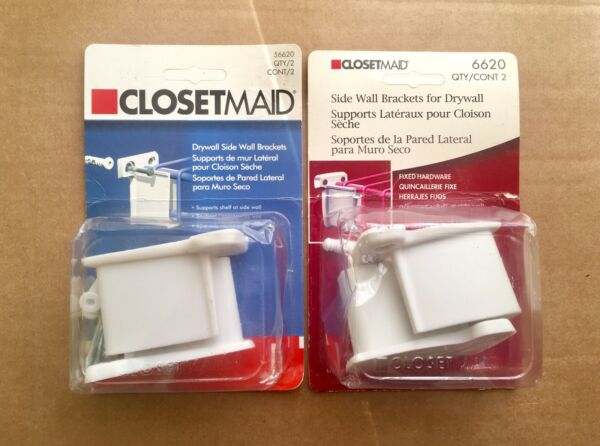 2 Package Lot ClosetMaid Drywall Side Wall Brackets Wire Shelving #56620 $14.95
