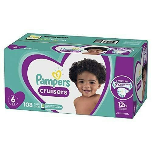 PAMPERS CRUISERS DISPOSABLE BABY DIAPERS SIZE 6 108 COUNT NEW SEALED $39.99
