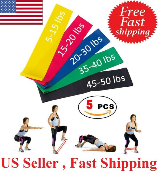 5 Resistance Loop Bands Set Strength fitness Gym exercise Yoga workout Pull Up $6.69