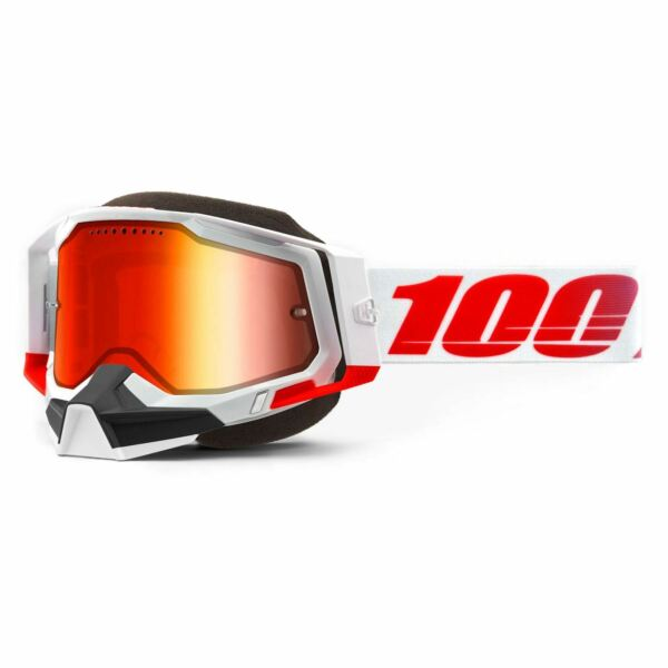 100% Racecraft2 Snow St Kith Goggles w Mirror Red Lens Snowmobile